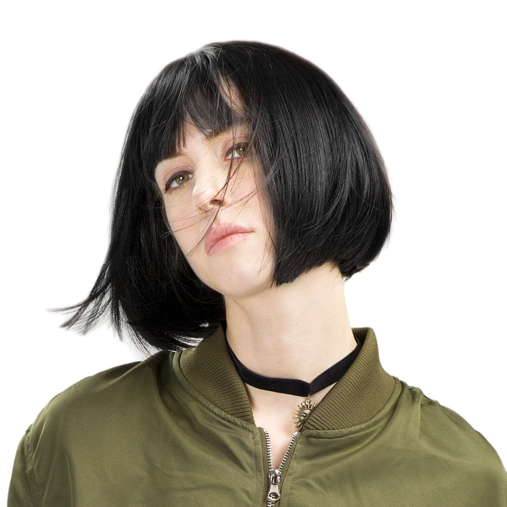 REECHO 11'' Short Bob Wig with bangs Synthetic Hair for White Black Women Color: Black by REECHO