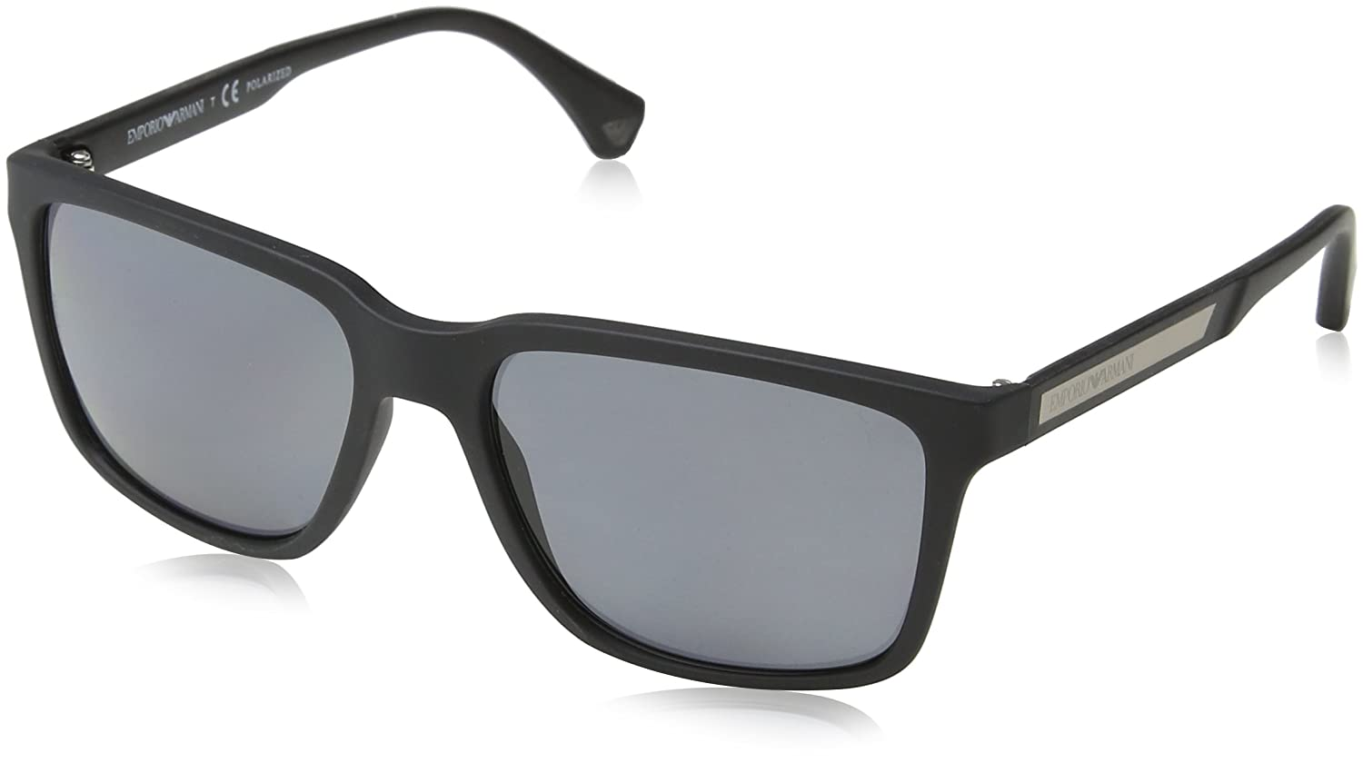 Amazon.com  Emporio Armani EA4047 506381 Black Rubber Grey Polarized  Sunglasses   Emporio Armani  Shoes 9dfb2a8c18