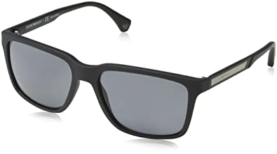 e1c51827a9c Image Unavailable. Image not available for. Color  Emporio Armani EA4047  506381 Black Rubber Grey Polarized Sunglasses