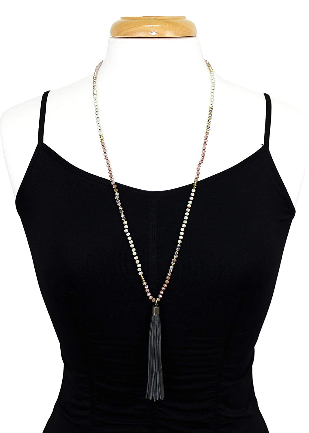 POMINA Knotted Glass Beaded Long Necklaces Genuine Leather Tassel Pendant Long Necklaces for Women