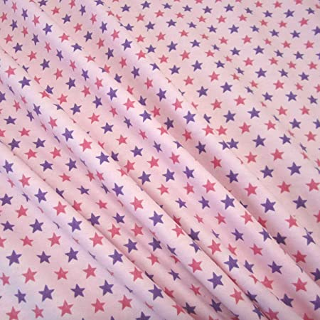 Tela tela de algodón metro estrellas franela rosa lila rosa Pijama ...