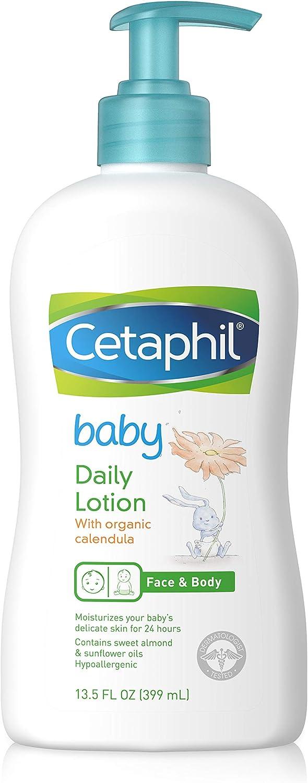 Cetaphil Baby Daily Lotion with Organic Calendula  Vitamin E   Sweet Almond & Sunflower Oils  13.5 Fl. Oz