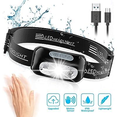 Cocoda Linterna Frontal, LED USB Recargable Linterna Cabeza con 4 Modes de Luz, Sensor de Movimiento, 160 Lúmenes, Impermeable IPX6 y Ajustable Ángulo & Correa, Frontal LED para Cámping Correr