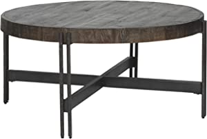 Signature Design by Ashley - Jillenhurst Round Rustic Cocktail Table, Dark Brown