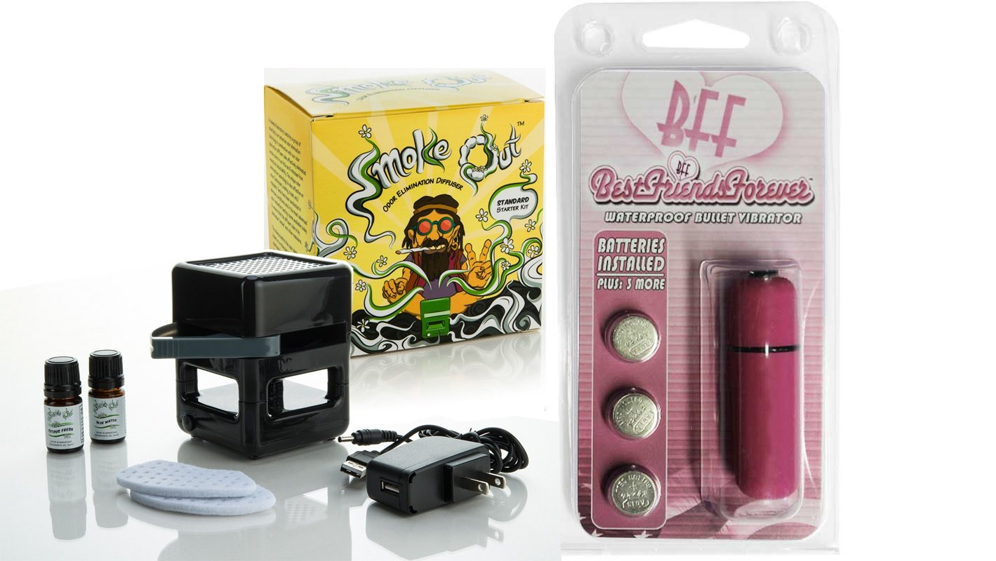 Bundle Package Of Smoke Out Odor Eliminating Diffuser DP AND a bff Waterproof Vibrating Bullet Pink by SI Novelties