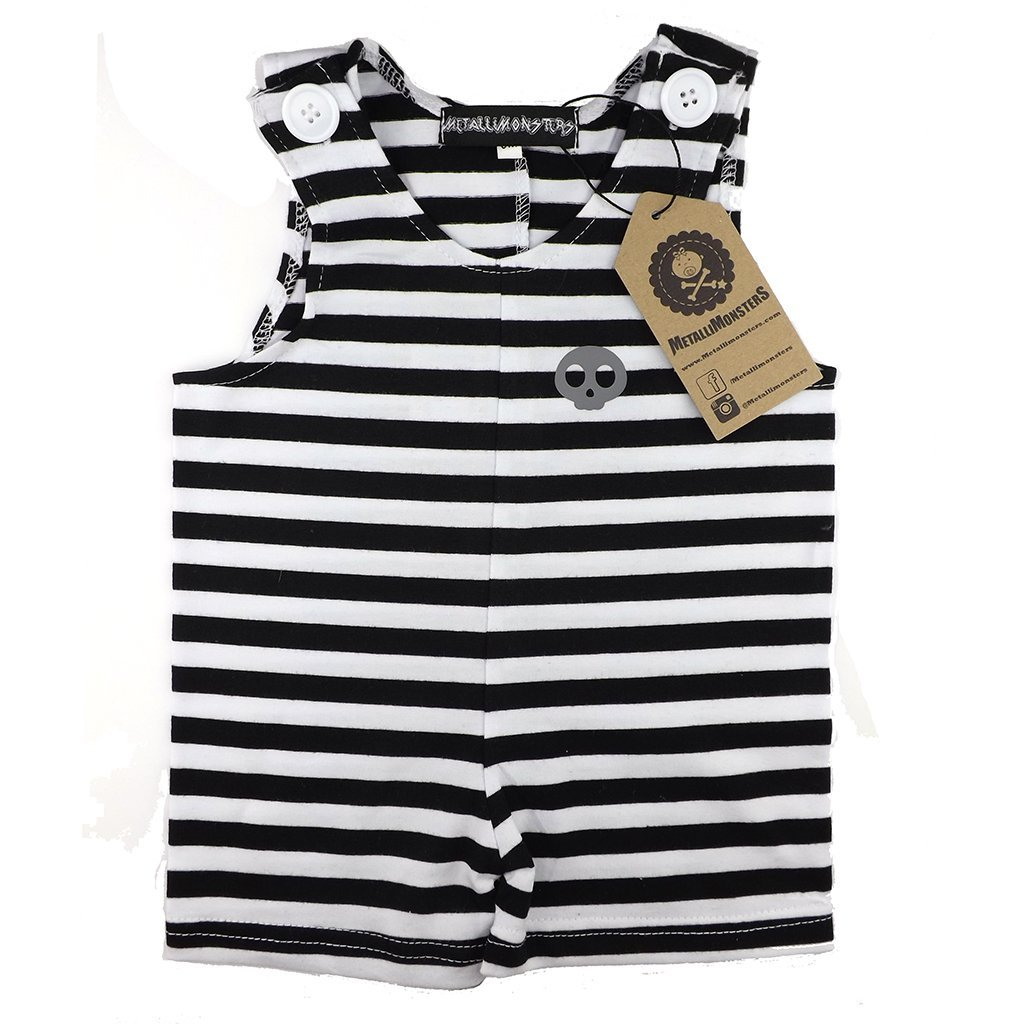 Metallimonsters Skull Stripe Romper - Black