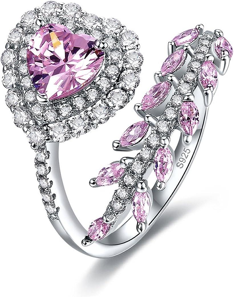 Zetaur Women's 925 Sterling Silver Created Amethyst Eternity Heart Cut Cubic Zirconia Adjustable Opening Ring Size 6 to 9
