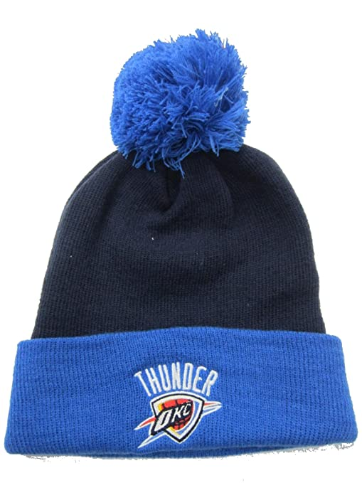 805acd722ab Image Unavailable. Image not available for. Color  Oklahoma City Thunder  Navy   Light Blue Cuffed Pom Knit Cap   Beanie