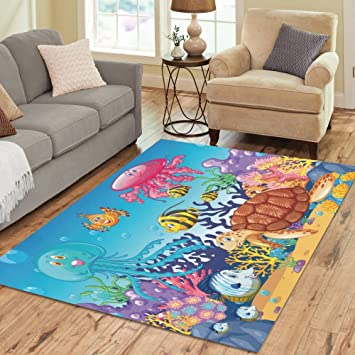 InterestPrint Ocean Animal With Jellyfish And Sea Turtle Area Rug Cover Carpet 7 X 5 Feet