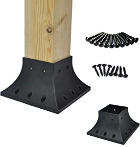 Myard PNP114040 4x4 (Actual 3.5x3.5) Inches Post Base Cover Skirt Flange with Screws for Deck Porch Handrail Railing Support Trim Anchor (Qty 4, Black)