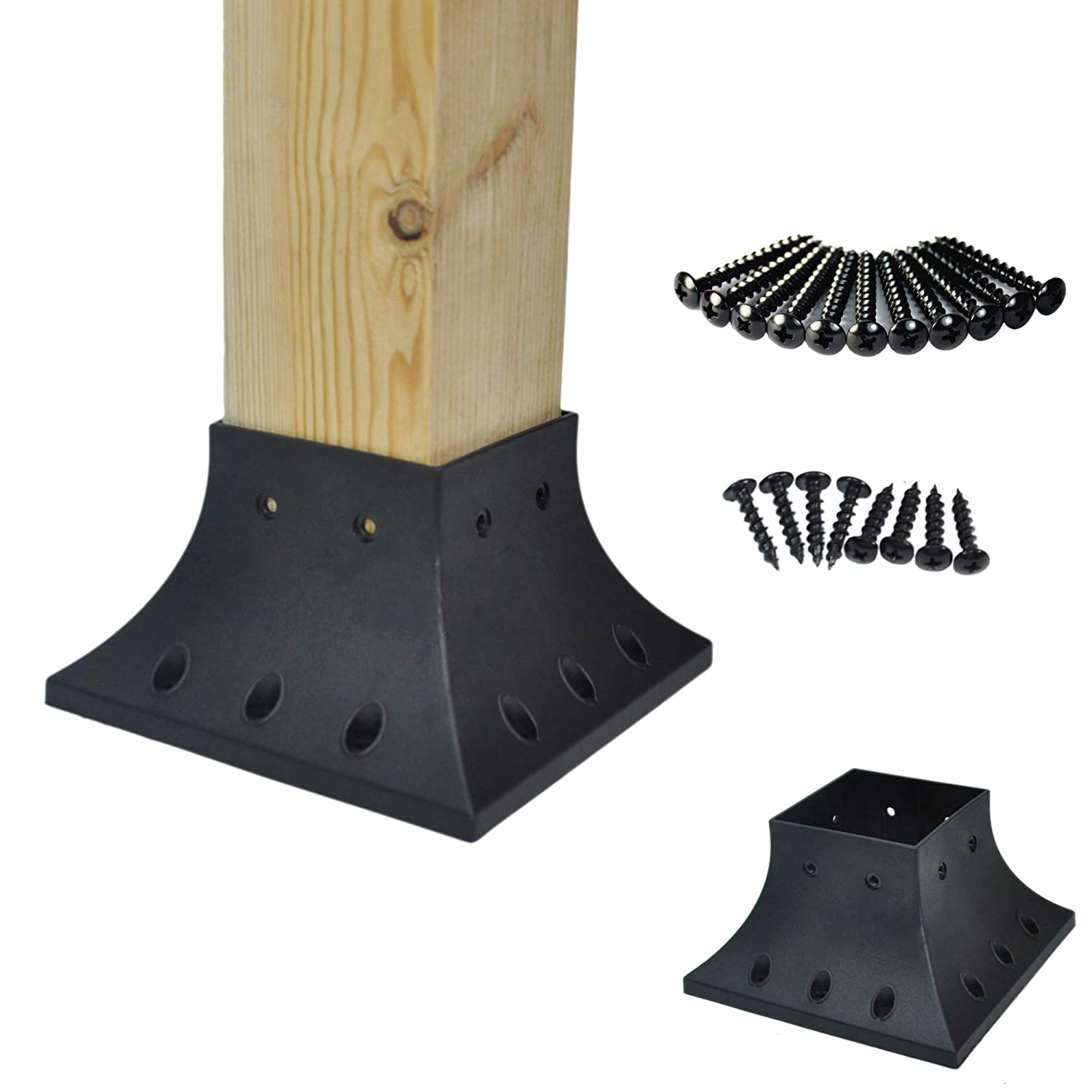 Myard 4x4 (actual 3.5x3.5) Inches Post Base Cover Skirt Flange w/Screws for Deck Porch Handrail Railing Support Trim Anchor (Qty 1, Black) PNP114040