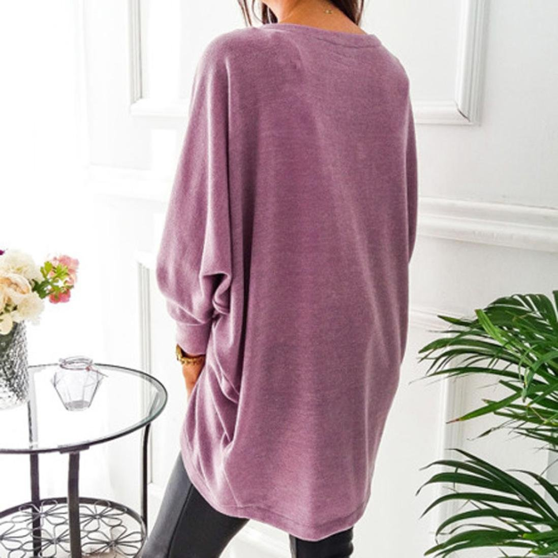 Hot Sale!Women's Cardigans Neartime Womens Kintted Cardigan Asymmetric Sweater Hem Long Sleeve Coat Tops (L, Pink) by NEARTIME (Image #5)