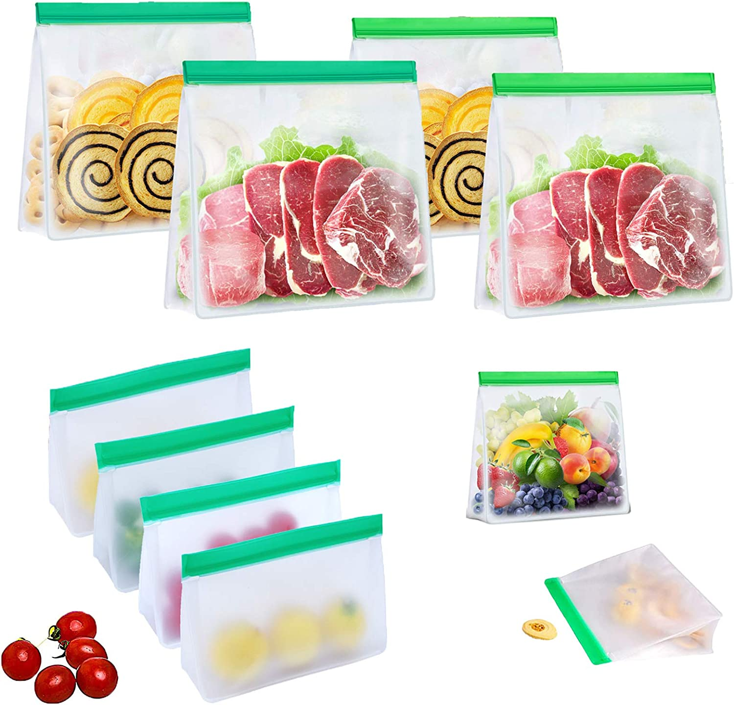 Reusable Food Storage Bags, 10 Pack Stand Up PEVA Leakproof Reusable Grocery Freezer Bags Containers For Meat Fruit Cereal Snacks Food, 4 Larger Lunch Bags+4 Middle Sandwich Bags+2 Snack Bags