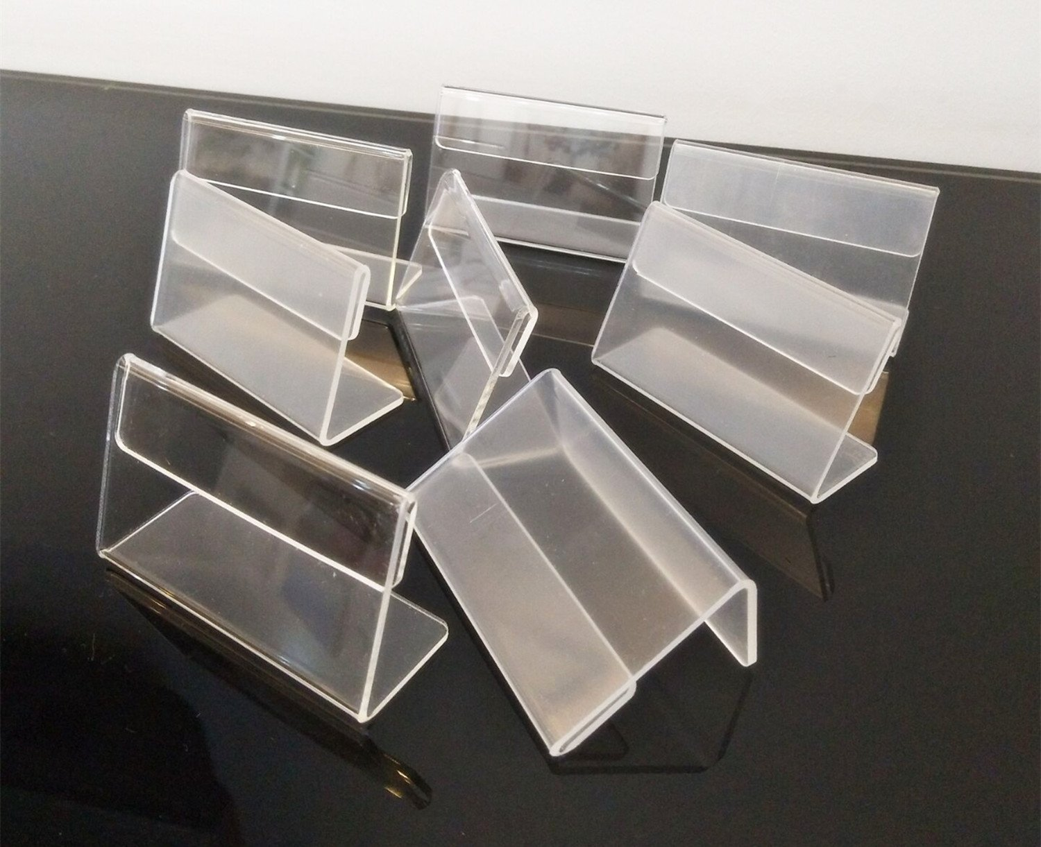 Set of 30PCS L Shape Clear Acrylic Price Card Tag Label Stand , Mini Sign Display Holder,Counter Top Stand 7x4cm MEYA