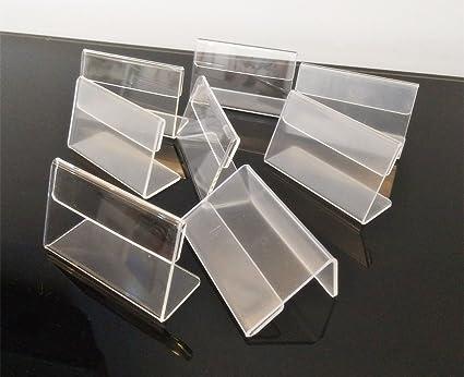 Set de 30 piezas Forma de L acrílico transparente etiqueta de precio tarjeta etiqueta soporte, mini expositor de señal, encimera soporte 7 x 4 cm