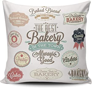 AIHUAW Home Decorative Cushion Covers Throw Pillow Case Vintage Retro Bakery Badges and Labels Pillowcases Square 24x24 Inches Double Sided Printed (Set of 1)