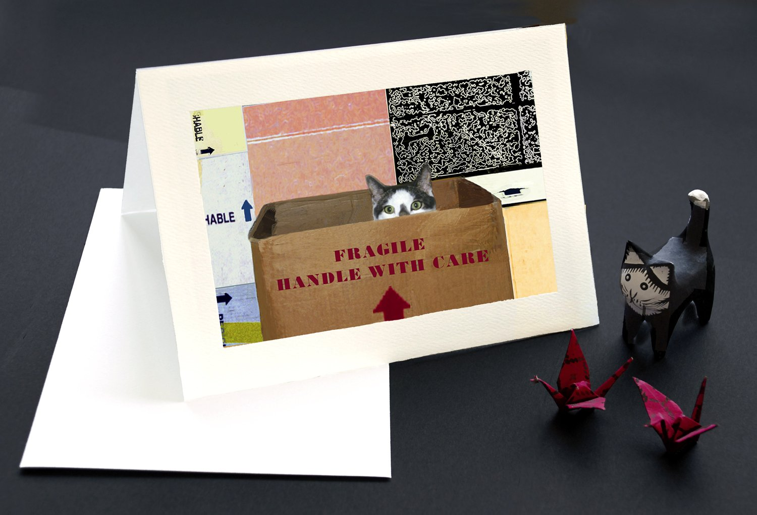 Handle with Care Cat Greeting Cards, Save on 10-pack, Friendship Quotes, Deluxe Blank 5 X 7 Inch Handmade Notecards, Gifts for Cat Lovers and Crazy Cat Ladies By Deborah Julian