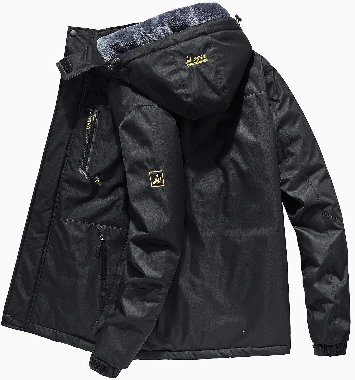R RUNVEL Men's Waterproof Fleece Jacket Windproof Winter Coats
