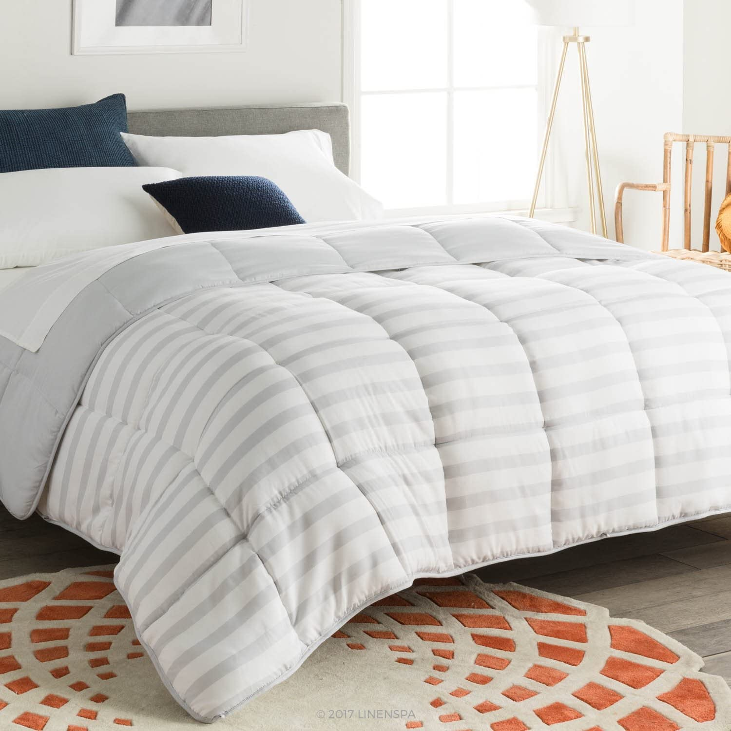 Linenspa All-Season Reversible Down Alternative Quilted Oversized King Comforter - Hypoallergenic - Plush Microfiber Fill - Machine Washable -Duvet Insert or Stand-Alone Comforter - Grey/White Stripe