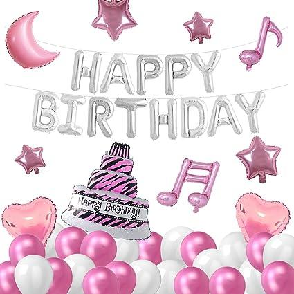 Amazon Com Qaqgear 56pcs Princess Birthday Decorations Kit With Sliver Happy Birthday Balloon Banner Pink Moon Balloon Star Balloon Heart Balloon Music Notes Balloon White Pink Balloon For Girls Women Toys Games