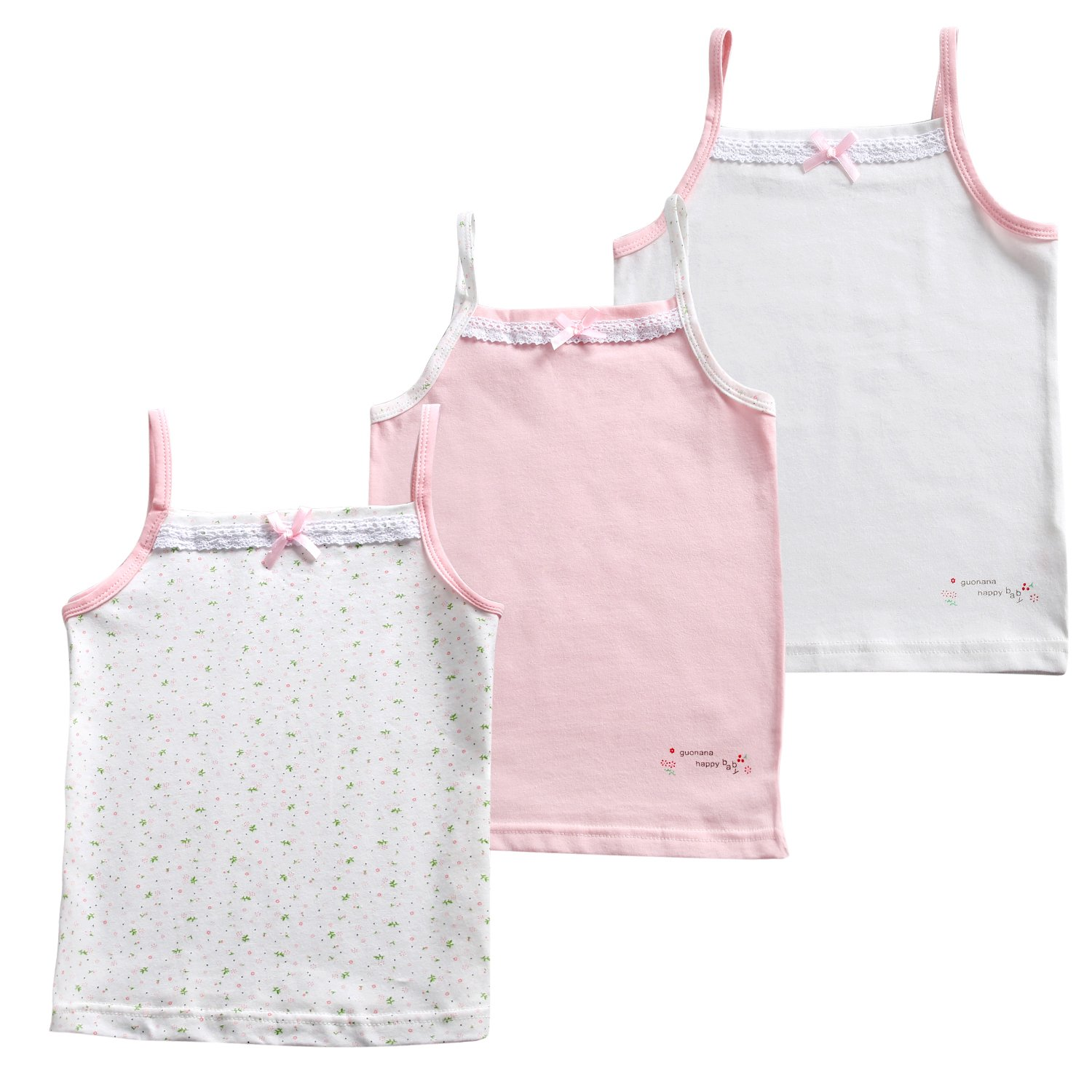 Kereda Girls Cotton Vests, 3 Pack Lace Trim Cami Top for Kids 2-10 Years