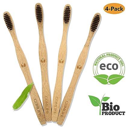COMLIFE Cepillos de Dientes de Bambú 4PCS, Vegano Ecológico Biodegradable, 100% Libre de