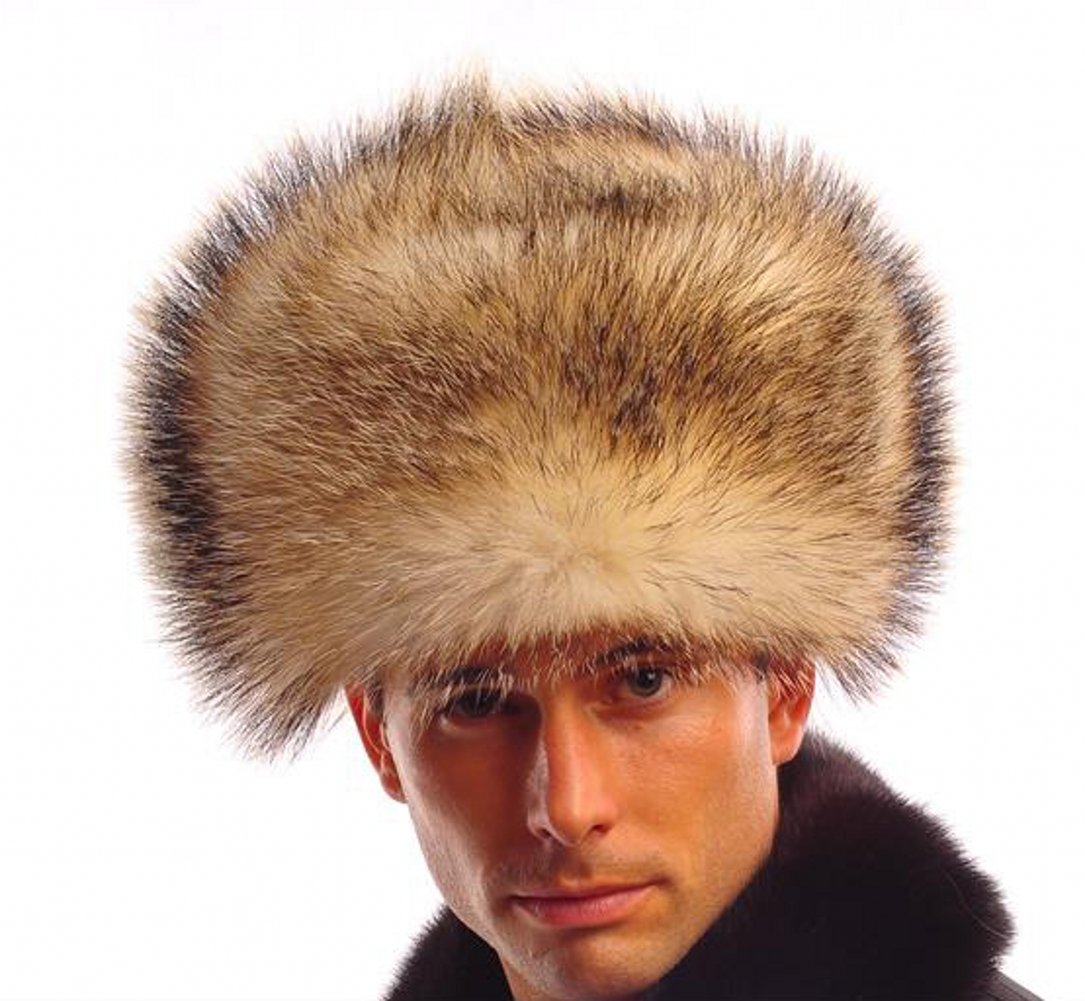 URSFUR Men's Fin Raccoon Fur Russian Ushanka Hats Bomber Hats Brown Z88 by URSFUR