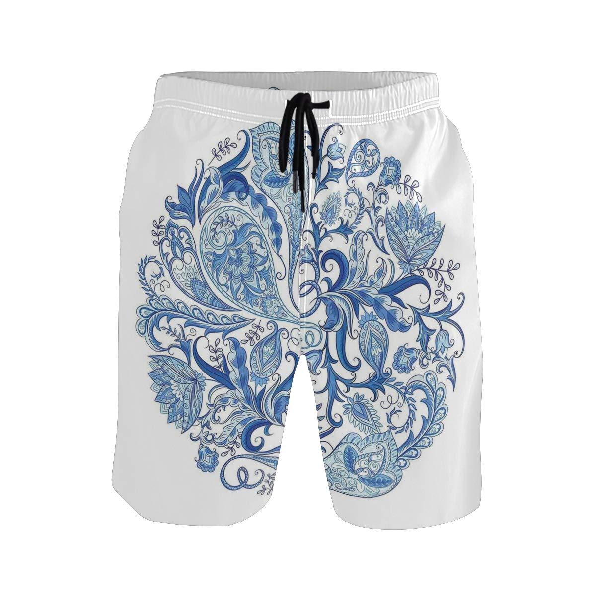 COVASA Mens Summer ShortsClassic Paisley Petals Circular Shape Blue Tones Swir