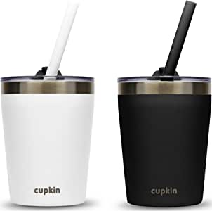 Stackable Stainless Steel Kids Cups for Toddlers (Easy to Clean) - Set of 2 Powder Coated 8 oz Vacuum Insulated Tumblers, 2 Leak Proof Lids and 2 Food Grade Reusable Silicone Straws (Black + White)