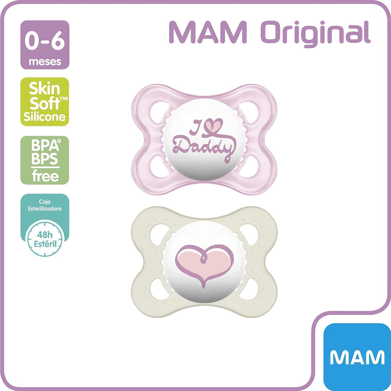 MAM Original 0+ rosa 0+ meses 2 unidades Chupete de silicona para reci/én nacido chupete ortod/óntico con escudo ventilado mini chupete MAM autoesterilizable