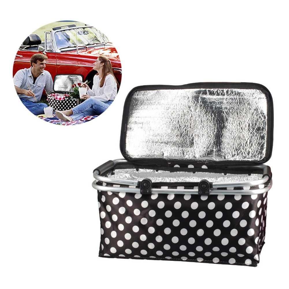 ZQHWH Cesta t/érmica para picnic 30 L, con asas de aluminio color negro