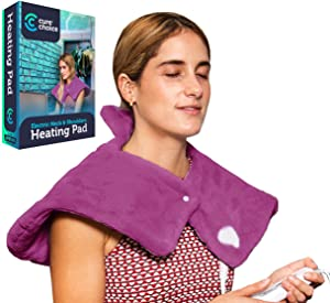 Cure Choice Electric Heating Pad for Neck & Shoulders, Ultra Soft Heating pad for Muscle Cramps – Heated Pad with Adjustable Temperature Settings, Safe Auto Shut Off. (Magenta)