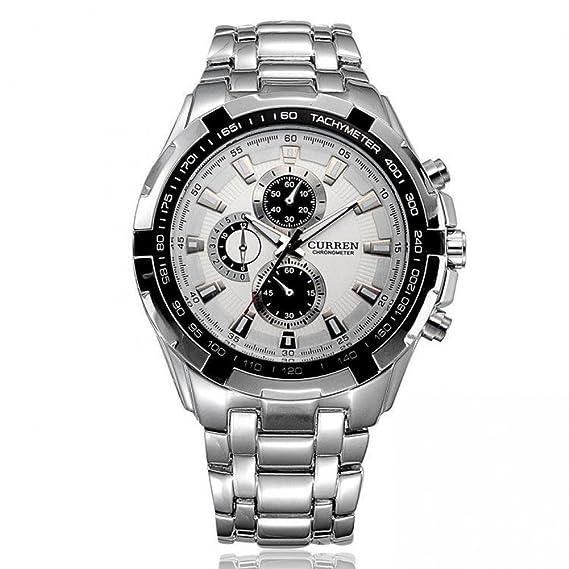 Beauty Business Man marca regalo diseño de la bandera alemana Curren Cable de cuarzo relojes - acero inoxidable Relojes agua níquel o el hombro: Amazon.es: ...