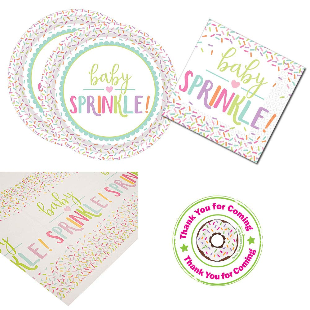 RazzleDazzleCelebrations Baby Sprinkle Baby Shower Party Supplies Napkins Stickers Extra Large Plates tablecover
