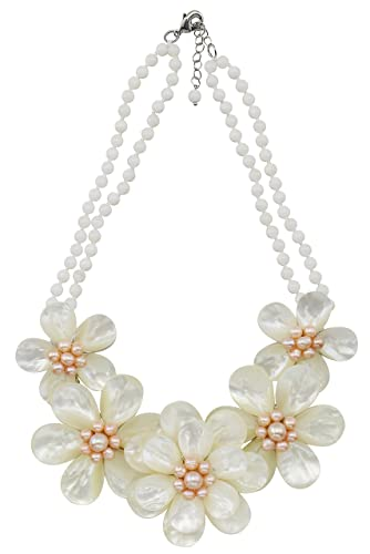 Amazon magicyimu white flower beaded chains statement necklace magicyimu white flower beaded chains statement necklace with shell synthetic pearl jewelry for women mightylinksfo