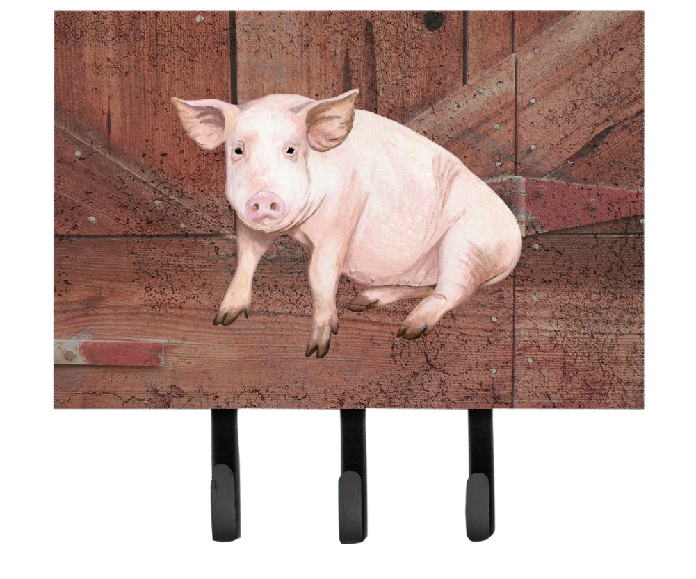 Caroline's Treasures SB3072TH68 Pig at The Barn Door Leash or Key Holder, Large, Multicolor Caroline's Treasures