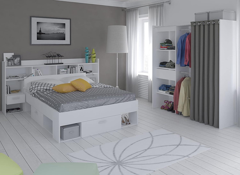 Miroytengo Pack Muebles habitación Matrimonio Chicago Color Blanco Estilo Moderno (Cama + cabecero + vestidor)