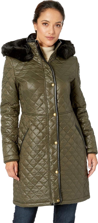 720085d3e31 Lauren Ralph Lauren Womens 3/4 Faux Leather Trim Quilt at Amazon Women's  Coats Shop
