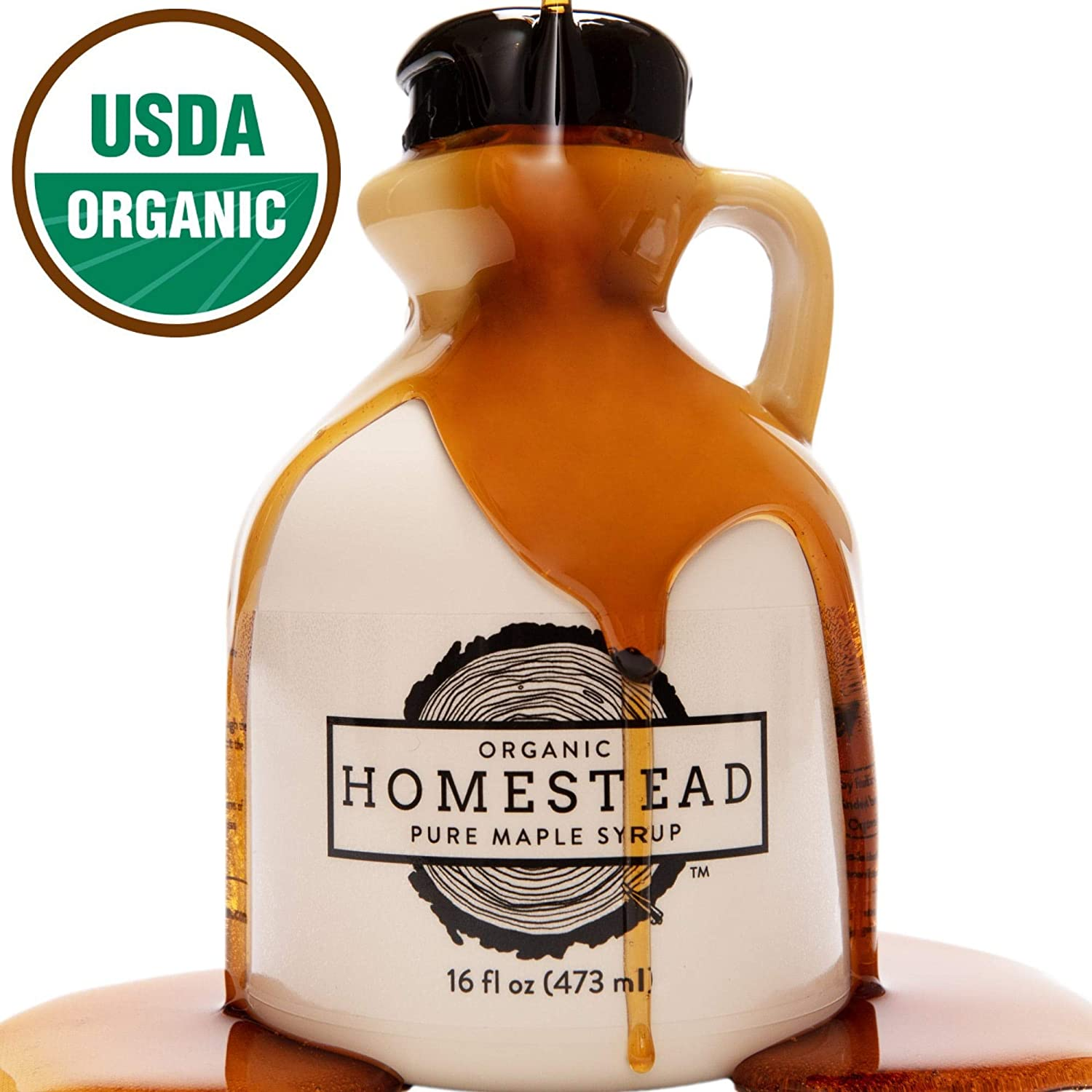 Homestead Organic Maple Syrup, Real and Pure USDA Organic Grade A Dark Maple Syrup, Homemade in Wisconsin, 16-Ounce Jug
