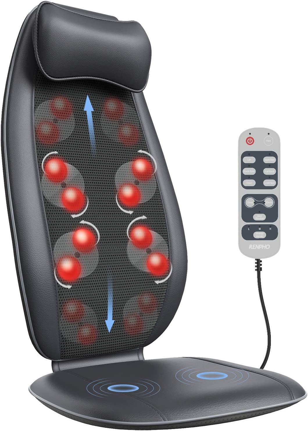Back Massager, RENPHO S-Shaped Shiatsu Neck Massage Seat Cushion with Heat,Vibration, Full Back Deep Tissue Rolling Massage Chair Pad for Shoulder, Waist, Hips, Muscle, Pain Relief, Home/Office