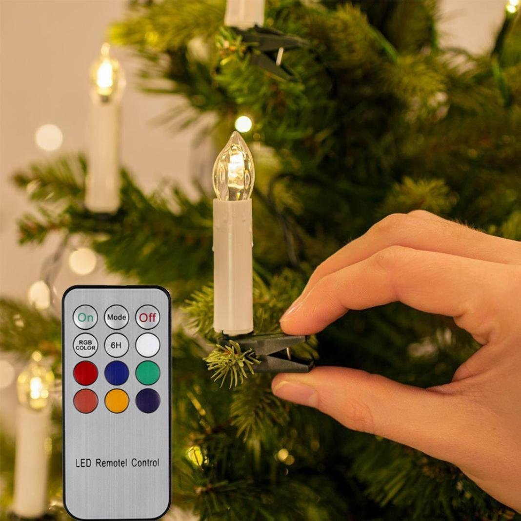 HP95 LED Light Candles With Remote Control,Flameless Candle Light,On Christmas Tree Lights,Flickering and Steady Light for Christmas Home Decor,Pack Of 10