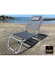 GLOBOLANDIA SRL Spiaggina a 3 Posizioni in Alluminio e Textilene 685974 con Cuscino, 3 Cinghie Elastiche
