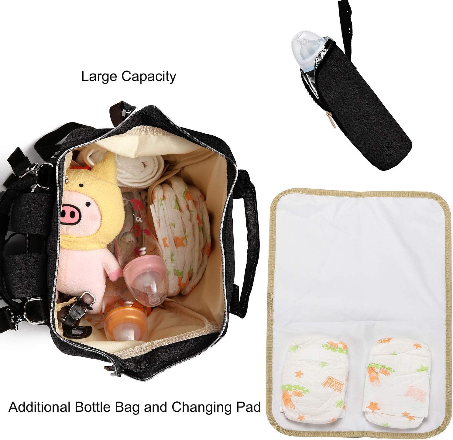Hinwo Bolso cambiador para mam/á de maternidad con bolsillos impermeables y con puerto USB aislados para el cuidado del beb/é gran capacidad negro negro