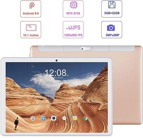 3GB RAM+32GB ROM//128GB de Memoria Quad-Core 8500mAh Dual Ranuras para Tarjetas SIM 8MP+5MP C/ámara BT//GPS//OTG Tablets de Funci/ón de Llamada Negro Tablet 10.1 Pulgadas Android 9.0 Tablet PC