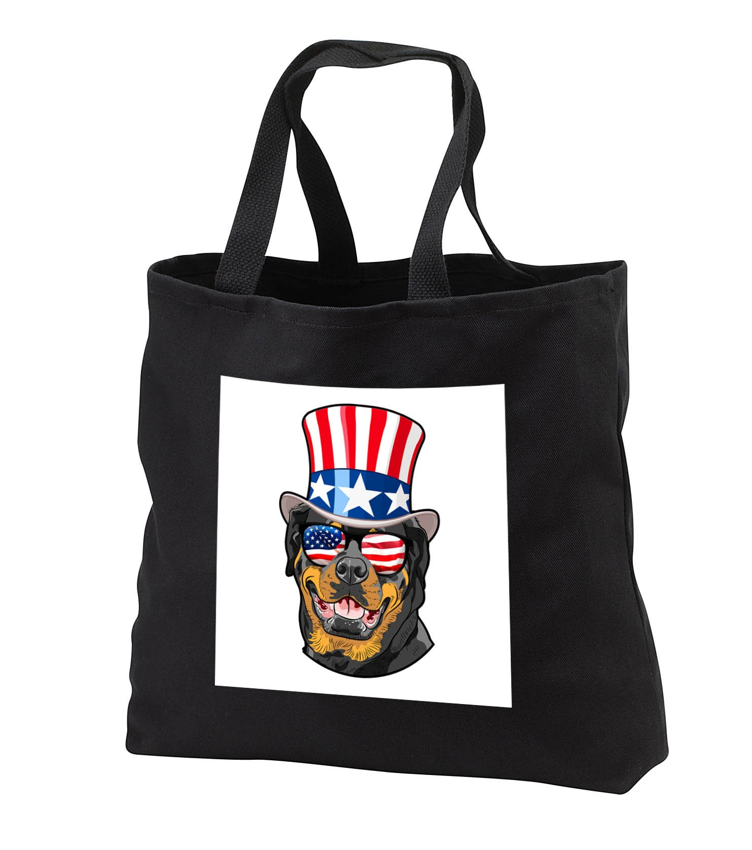 Patriotic American Dogs - Rottweiler Dog With American Flag Sunglasses and Top hat - Tote Bags - Black Tote Bag JUMBO 20w x 15h x 5d (tb_282704_3)