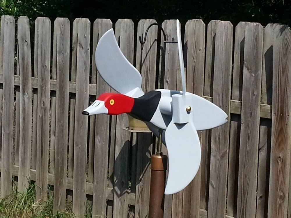 Redhead Mallard Duck Whirligig, handmade from solid southern cypress and solid brass hardware