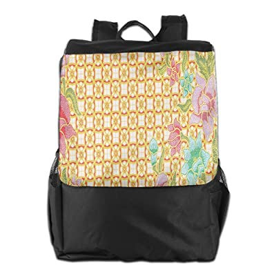 Newfood Ss Traditional Malaysian Batik Form With Flower And Leaves Javanese Heritage Zen Design Outdoor Travel Backpack Bag For Men And Women