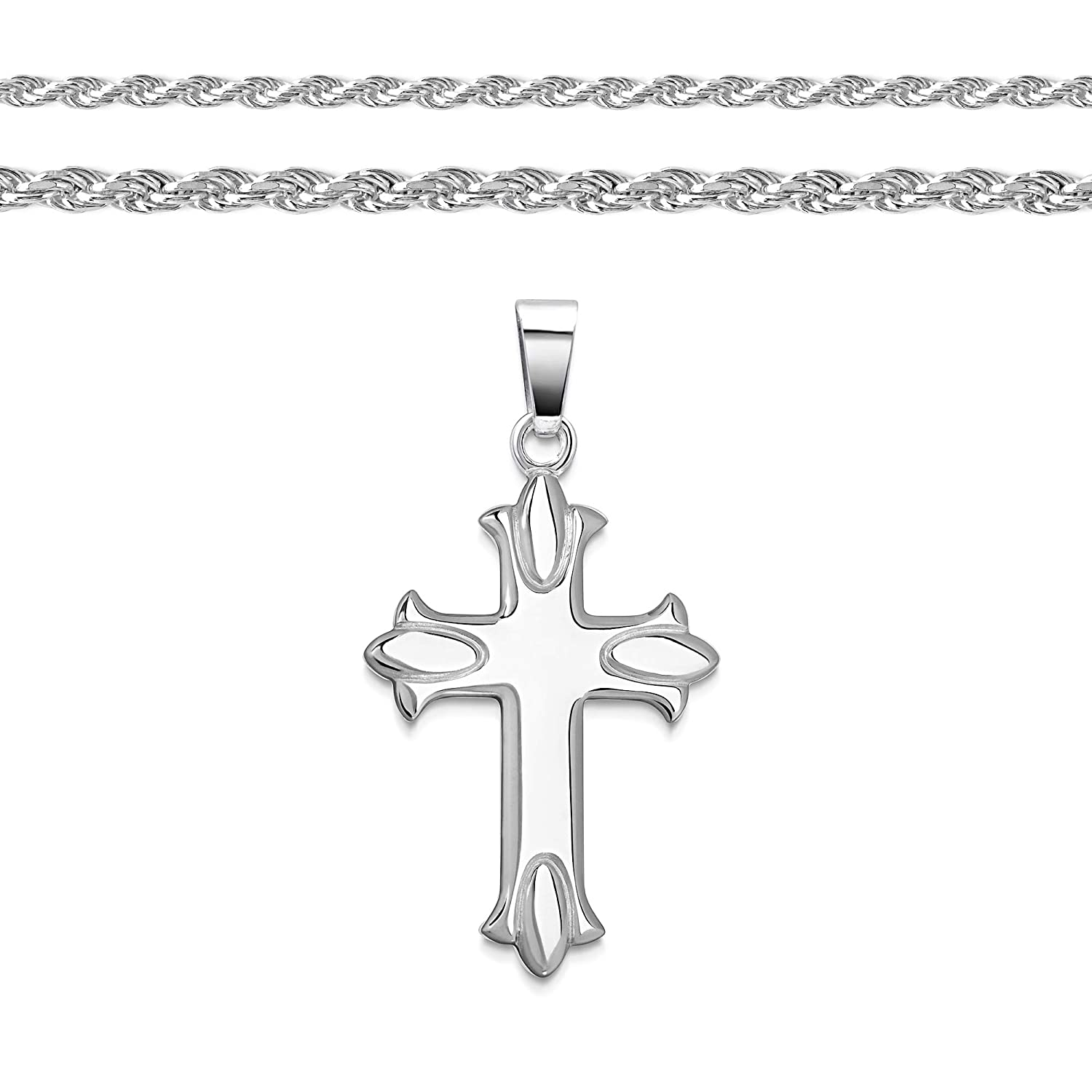 FB Jewels 14k White Gold 13X9 mm Polished Cross Pendant