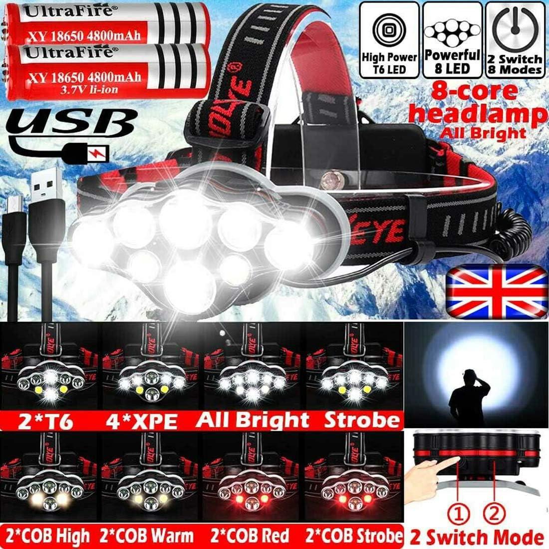 Black CloverGorge LED Camping Headlight Waterproof COB LED Headlight Ultra Bright Outdoor