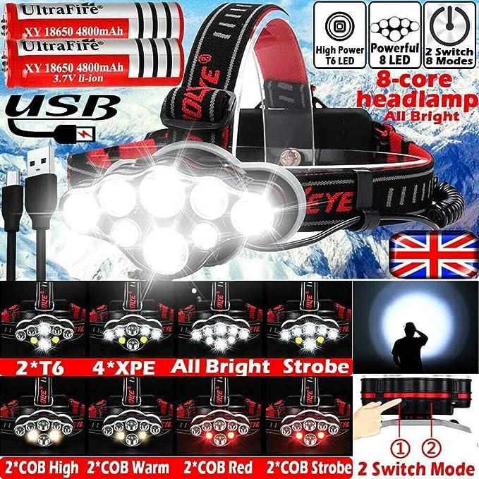 Zoom 350000LM T6 LED Headlamp Headlight Torch Rechargeable Flashlight Work Light